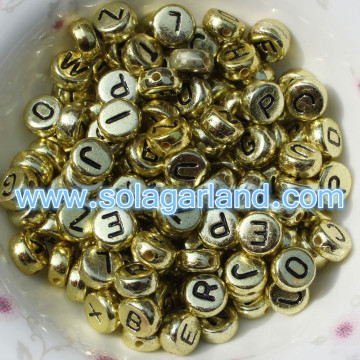 Fashional Mixed & Individual 4x7MM Acrylic Gold Coin Beads Round Flat Alphabet Letter Beads