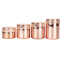 50ml 60ml 90ml 100ml  rose golden electroplating straight side Child Resistant  cream glass jar with child-proof lids