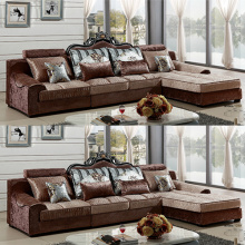 Hand Carved L-Shaped Fabric Chaise Lounge Sofa