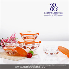 Set of 5 PCS Print Glass Bowl with PC Lid