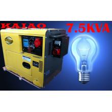 5.8kw / 7.5kVA Электрический пуск Бесшумный трехфазный дизельный генератор с ATS