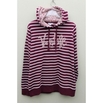 100% polyester knitted Color stripe ladies pullover