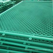 Покрынная PVC Загородка ячеистой сети звена цепи в зеленый цвет