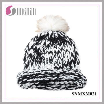 Gorro de lana de lana de invierno de pelo rizado de mapache cálido (SNMXM021)