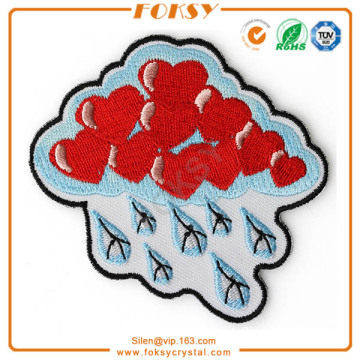 Lovely Rainy clouds with red heart embroidery applique