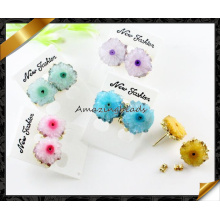 Fashion Jewelry Colorful Agate Druzy Geode Golden Plated Round Agate Druzy Stud Earrings (FE073)