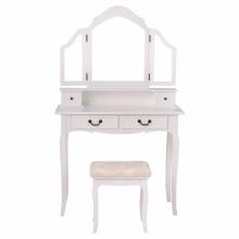 Folding Makeup Table Set Bedroom Dressing Sets Tri Mirror Vanity With Stool & 4 Drawers Black/White (White)