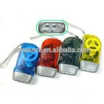 3 led promotional hand dynamo / crank / press torch
