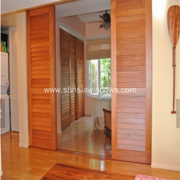 Wooden Grain Fold Sliding Aluminium Louvre Door