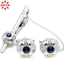 Blauer Kristall Krawattenklammer und Manschettenknöpfe