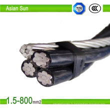 Fil d'aluminium de câble de baisse de service de câble de 0.6 / 1kv ABC Quadruplex