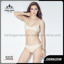 Frauen gestrickt gestreckt Volltonfarbe Bikini Unterwäsche