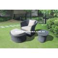 Freizeit Garten Sofa mit Hocker Rattan Wicker Möbel Bp-216