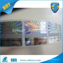 Etiqueta engomada anti-falsificación / holograma / rasguño de encargo del rodillo de la etiqueta