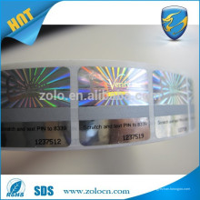 Autocollant anti-contrefaçon / hologramme personnalisé / scratch off roll d'étiquette