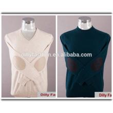 Hochwertiges Kaschmir-Strick-V-Neck / Rundhals-Herren-Sweatshirt mit Ellenbogen-Patches
