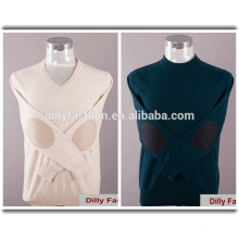 High quality cashmere knit v-neck/round neck mens sweatshirt with elbow patches
