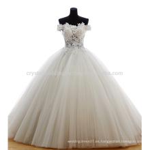 100% Real Fotos fuera del hombro Applique cremallera Puffy vestido de bola de barrido tren encantador botón de encaje vestido de novia MW984