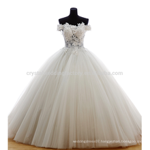 100% Real Photos Off The Shoulder Applique Zipper Puffy Ball Gown Sweep Train Charming Button Lace Wedding Dress MW984