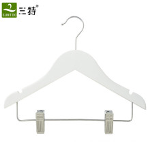 white color kids clothes wood hanger with clips