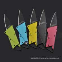 Couteau coloré en acier inoxydable pour carte de crédit couteau de pochette de survie à survêtement