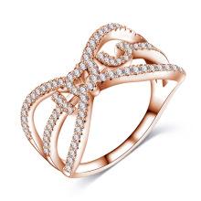 Lettre or rose 18 carats je t'aime bague de fiançailles (CRI1024)