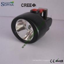 Lampe principale de chapeau de casque de sécurité de torche principale de CREE de 3W LED