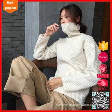 Heißer Verkauf Frauen strickte weiße Wolle Turtleneck Strickjacke