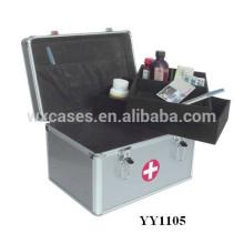 Nouvelle boîte de premiers soins portable en aluminium avec 2 plateaux à l'intérieur