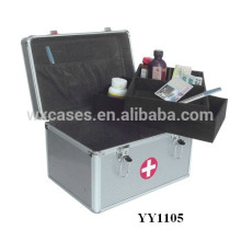 Nova caixa de primeiros socorros portátil de alumínio com 2 bandejas dentro