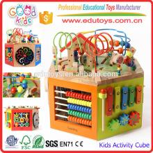 Brinquedos de jardim de infância Cubo de atividades de madeira, Centro de atividades infantis 7-em-1 para crianças de 1 a 3 anos