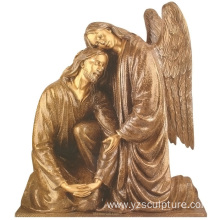 Bronze Jesus and Angel Statue for Sale