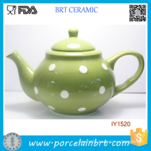 Decent Green Ceramic Pot with White Dots Tea Pot