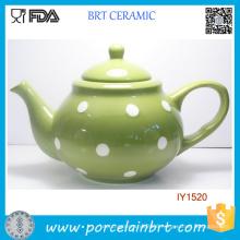 Decent Green Ceramic Pot with White Dots Tea Pot
