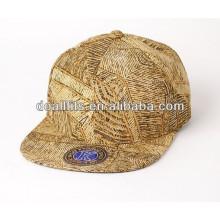 Nuevo sombrero del casquillo del snapback de la placa de oro del diseño con el gran precio