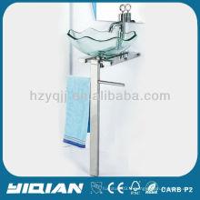 Évier en vasque en verre trempé sans miroir en acier inoxydable