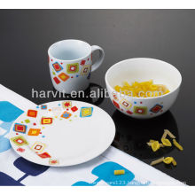 3PCS Ceramic Porcelain Bowl,cheap porcelain plate ,Mug Kid Breakfast Set