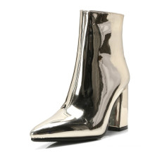 custom logo large size latest winter block mid heel metallic patent leather pointed toe ankle boots shoes for ladies