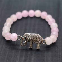 Rose Quartz 8MM Round Beads Stretch Gemstone Bracelet with Diamante elephant Piece