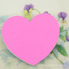 Almofada de notas pegajosa feita sob encomenda feita sob encomenda barata da forma do coração da impressão do logotipo