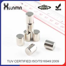 Ímã industrial personalizado personalizado do Neodimium permanente do cilindro forte do tamanho N52