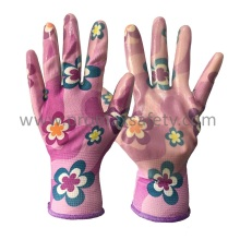 Flower Design Polyester Liner Clear Nitrile Palm Coated Garden Gloves