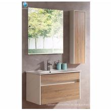 Extrem langlebige Standard-Keramik-Becken Wand hing Holz Nachahmung Laminat Badezimmer Vanity Cabinet