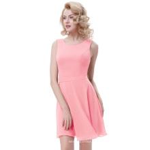 Kate Kasin sans manche en mousseline de soie en mousseline de soie A-Line Light Pink Robe d'été femme KK000625-3