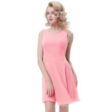 Kate Kasin Sleeveless Round Neck Chiffon A-Line Light Pink Women Summer Dress KK000625-3