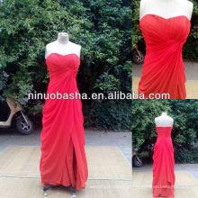 NW-381 bainha plissada com saia de seda vestido de noiva