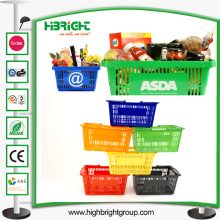 Cestas de compras de plástico para supermercados