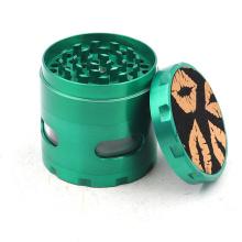 Hexagonal side sticker PU four-layer cigarette grinder