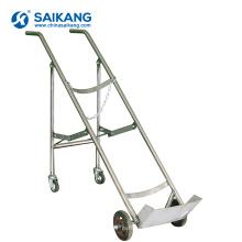 SKH048 Chariot à bouteilles d'oxygène en acier inoxydable à double pieds