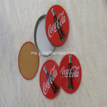 Round Cork Coaster Set With Box Tin